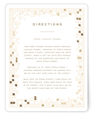 This is a modern, painterly, beige, gold Direction Cards by fatfatin called Mosaic Waves with Foil Pressed printing on Signature in Card Flat Card format. A modern and chic design featuring a stylish mosaic pattern and a simple layout