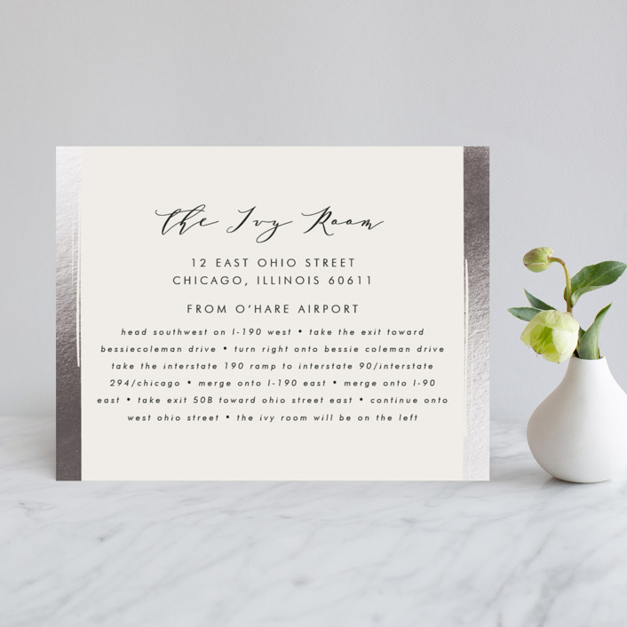 """""""Symphonic"""" - Elegant, Vintage Foil-pressed Direction Cards in Silver by Lehan Veenker."""