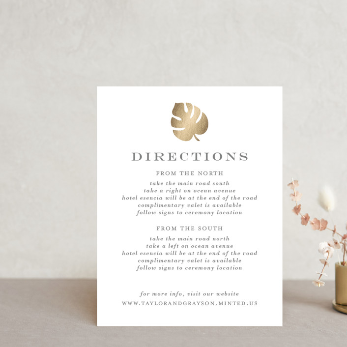 """""""Gilded Palm"""" - Foil-pressed Direction Cards in Gold by Lauren Chism."""