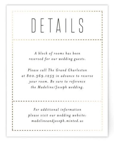 This is a landscape bold and typographic, classic and formal, white Direction Cards by Amy Payne called Golden Ticket with Foil Pressed printing on Signature in Card Flat Card format. This modern wedding invitation features clean dotted lines in foil. ...