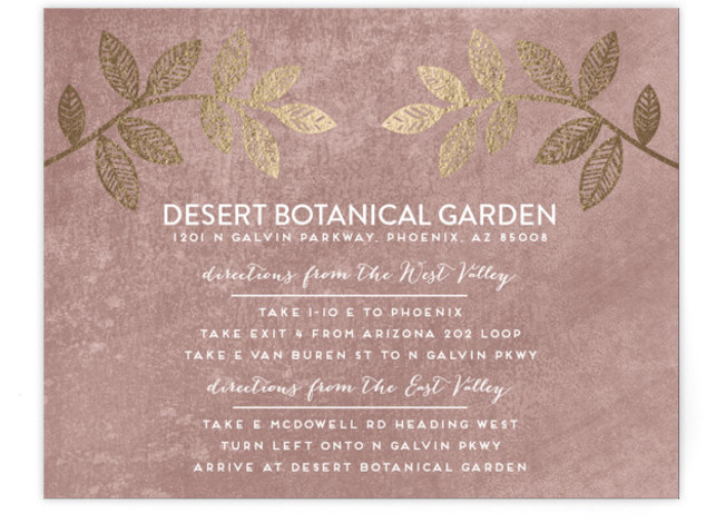 This is a landscape floral, metallic, modern, rustic, purple Direction Cards by shoshin studio called Folk Filigree with Foil Pressed printing on Signature in Card Flat Card format. Folk inspired botanical motif with rustic, silversmith finish complements your 'back to ...