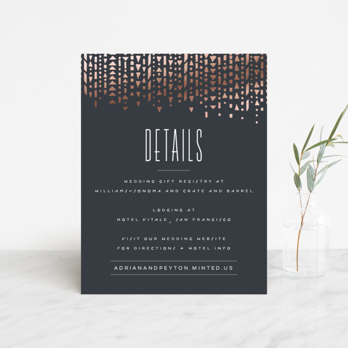"""""""Handdrawn Geometrics"""" - Vintage Foil-pressed Direction Cards in Charcoal by Hooray Creative."""