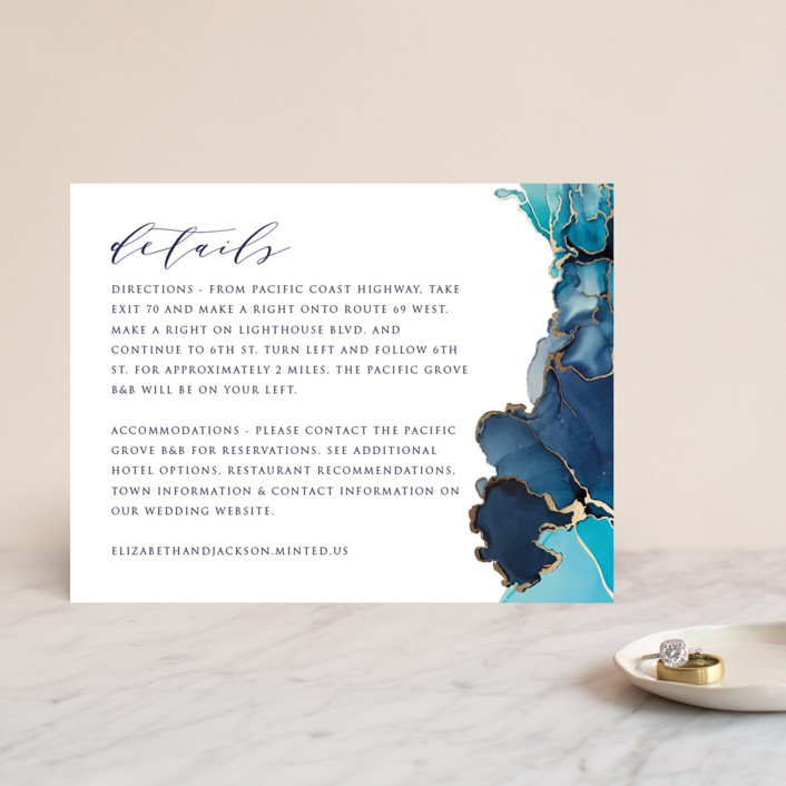 """""""Modern Tide Pools"""" - Modern Foil-pressed Direction Cards in Turquoise by Erin Deegan."""