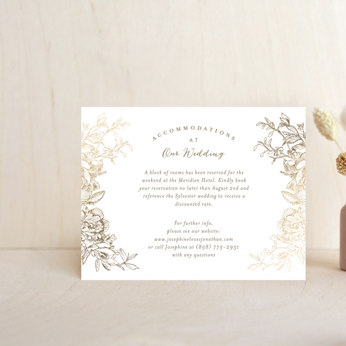 """""""Engraved Flowers"""" - Foil-pressed Direction Cards in Gold by Phrosne Ras."""