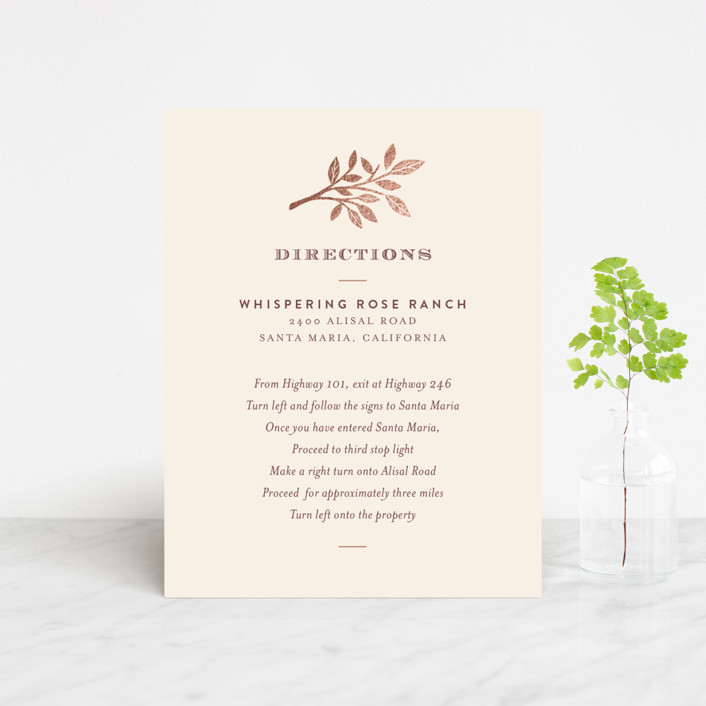 """""""Enchanted"""" - Monogrammed, Rustic Foil-pressed Direction Cards in Maple by Griffinbell Paper Co.."""