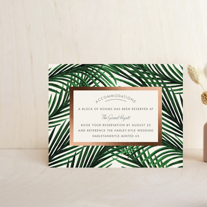 """""""Tropical Love"""" - Foil-pressed Direction Cards in Ivory by Elly."""