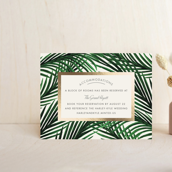 """Tropical Love"" - Foil-pressed Direction Cards in Ivory by Elly."