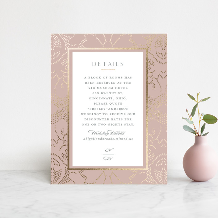 """""""Nicolette"""" - Bohemian Foil-pressed Direction Cards in Peony by Susan Zinader."""