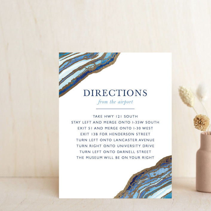 """""""Gilt Agate"""" - Bohemian, Rustic Foil-pressed Direction Cards in Navy by Kaydi Bishop."""