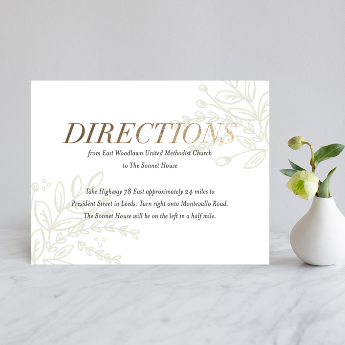 """""""Graceful"""" - Rustic Foil-pressed Direction Cards in Gold by Jessica Williams."""