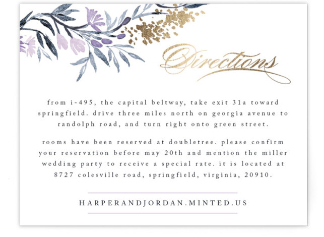 This is a landscape floral, purple, gold Direction Cards by Qing Ji called Poetic Blue with Foil Pressed printing on Signature in Card Flat Card format. This beautiful and modern design features hand painted watercolor flowers in various shades of ...