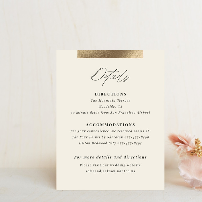 """""""Hand notes"""" - Foil-pressed Direction Cards in Cream by Yaling Hou Suzuki."""