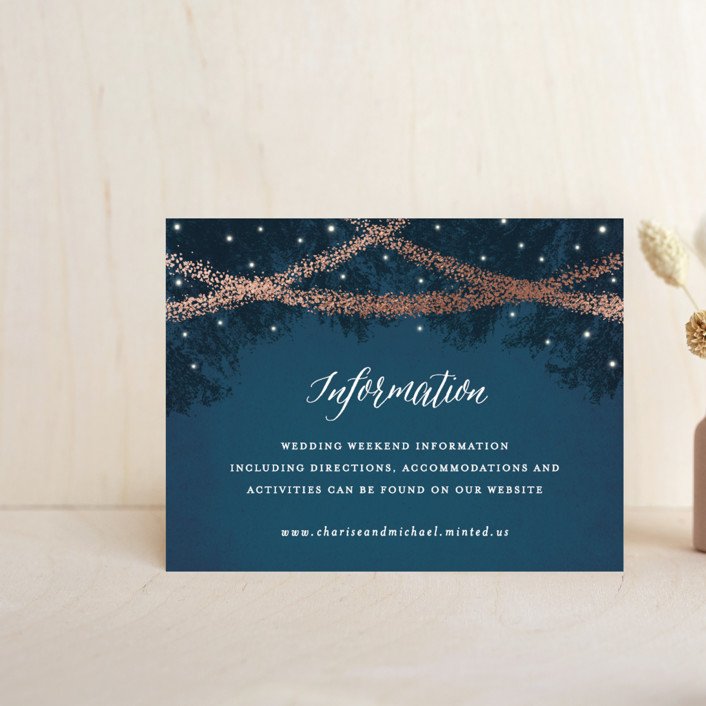 """""""Strands Of Lights"""" - Rustic Foil-pressed Direction Cards in Navy by Hooray Creative."""