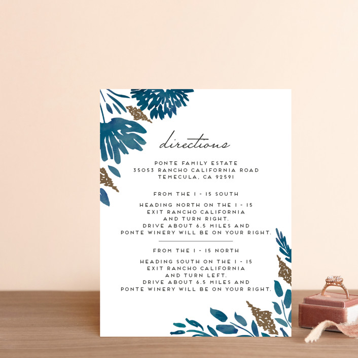 """""""Watercolor Delight"""" - Floral & Botanical Foil-pressed Direction Cards in Indigo by Petra Kern."""