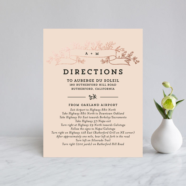 """""""Wedding Bouquet"""" - Rustic Foil-pressed Direction Cards in Petal by Chris Griffith."""