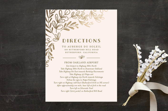 """""""Wedding Vines"""" - Rustic Foil-pressed Direction Cards in Petal by Chris Griffith."""