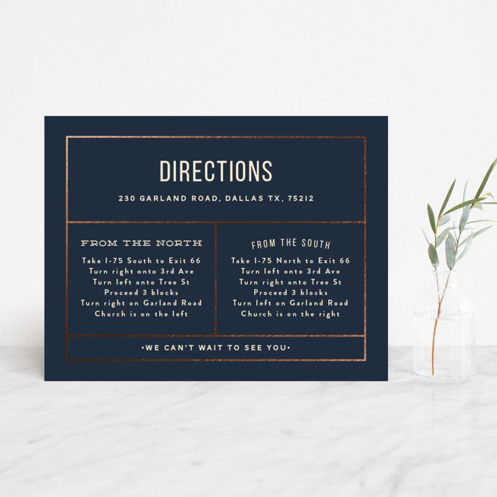"""""""Nautical By Nature"""" - Modern Foil-pressed Direction Cards in Navy by Dana Beckwith."""