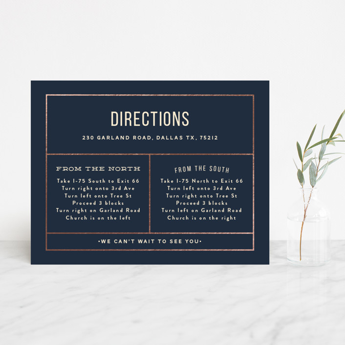 """Nautical By Nature"" - Modern Foil-pressed Direction Cards in Navy by Dana Beckwith."