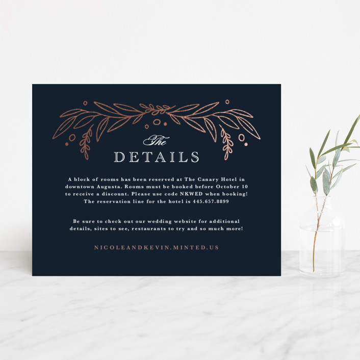 """Entwined"" - Foil-pressed Direction Cards in Navy by Kristen Smith."
