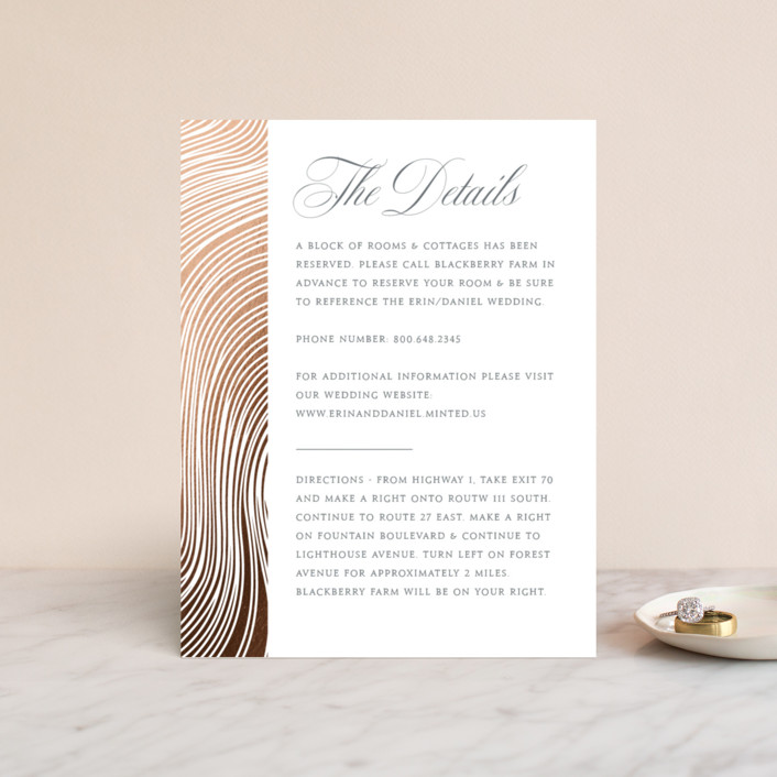 """""""Lined"""" - Modern Foil-pressed Direction Cards in Gold Cloud by Erin Deegan."""