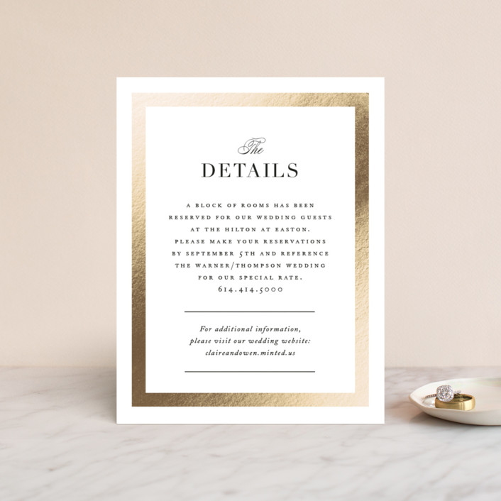 """Deluxe"" - Foil-pressed Direction Cards in Tuxedo by Jennifer Postorino."
