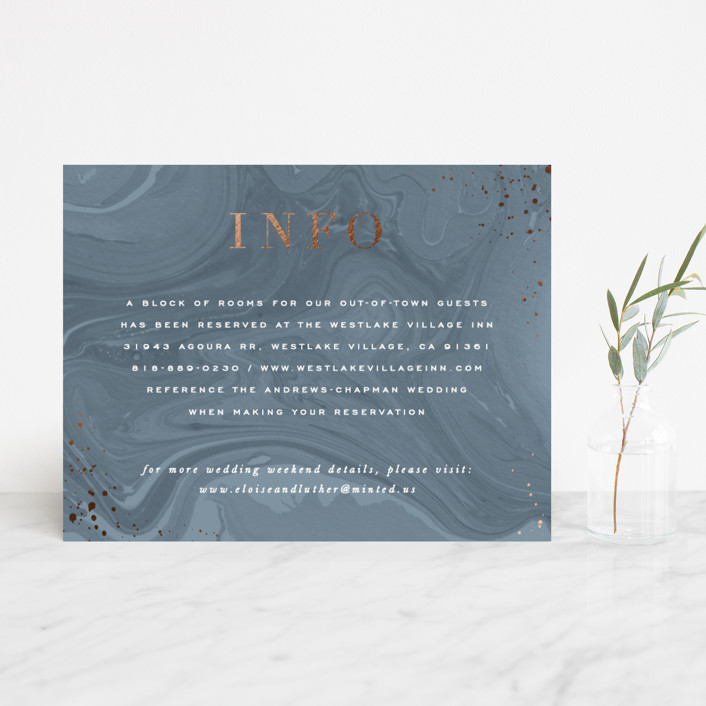 """""""Moody Marbling"""" - Modern Foil-pressed Direction Cards in Slate by Hooray Creative."""