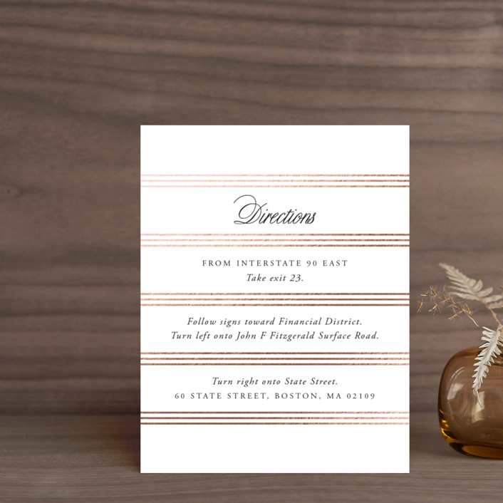 """""""Luxe Pinstripes"""" - Foil-pressed Direction Cards in Linen by Jill Means."""