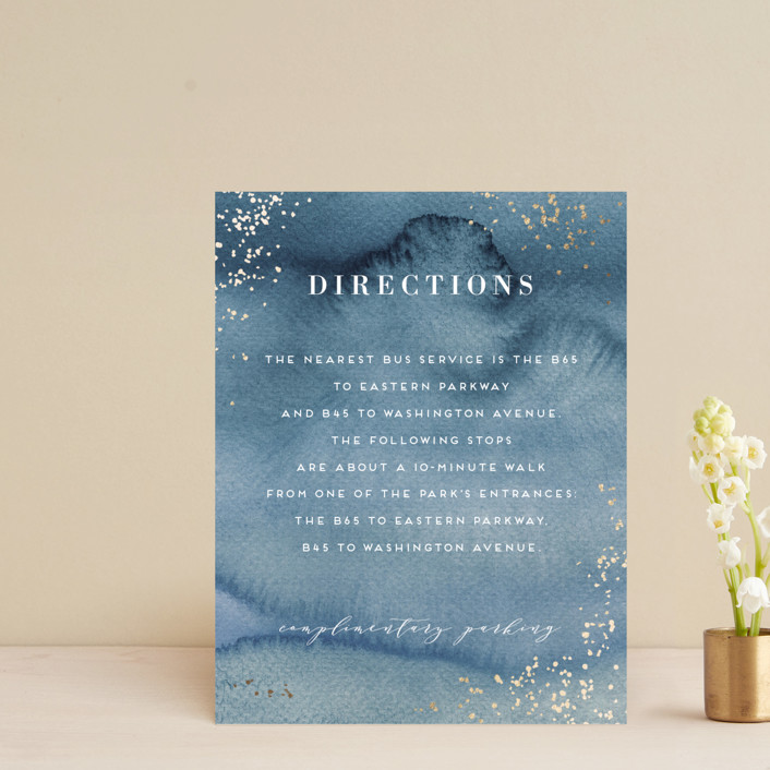 """""""Abstract seaside"""" - Bohemian Foil-pressed Direction Cards in Seaside by Alexandra Dzh."""