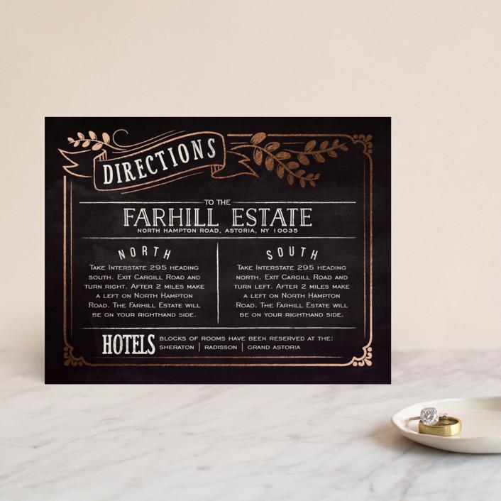 """Slated Forever"" - Bold typographic, Vintage Foil-pressed Direction Cards in Chalkboard by GeekInk Design."