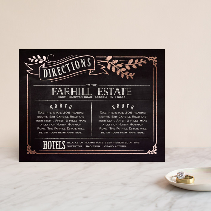 """Slated Forever"" - Bold typographic, Vintage Foil-pressed Direction Cards in Chalkboard by GeekInk Design."