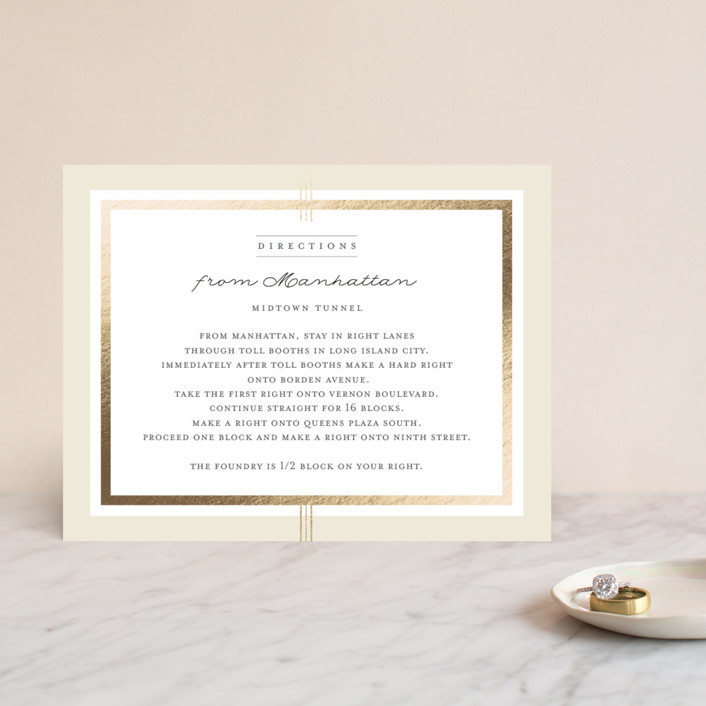 """""""Three Classic Lines"""" - Formal, Classical Foil-pressed Direction Cards in Barley by fatfatin."""