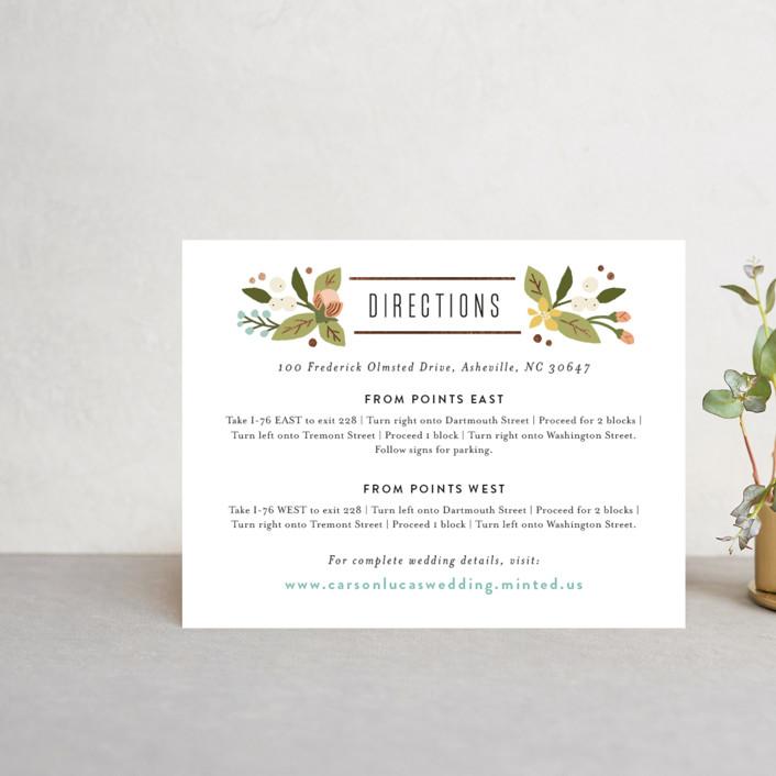 """""""Floral Ampersand"""" - Floral & Botanical, Vintage Foil-pressed Direction Cards in Sea Breeze by Jennifer Wick."""