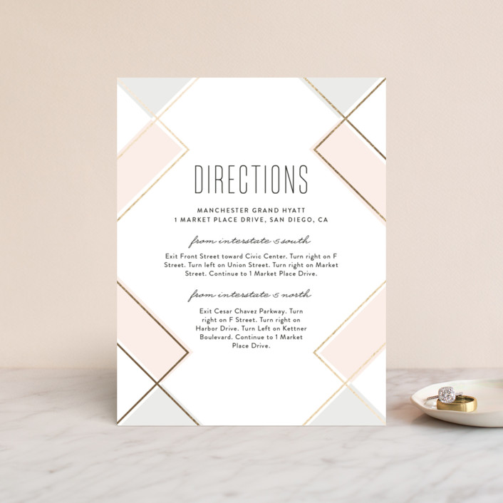 """Soft Glass"" - Modern Foil-pressed Direction Cards in Blush by Erica Krystek."