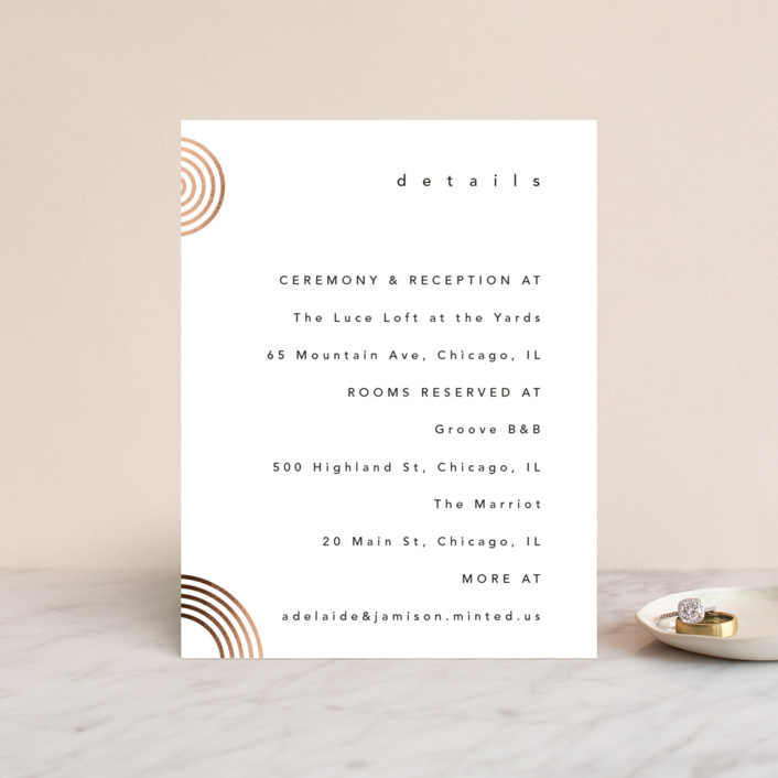 """Connected"" - Modern Foil-pressed Direction Cards in Tuxedo by Kelsey Mucci."
