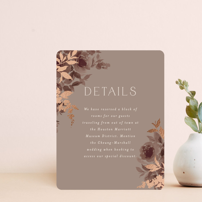 """""""Blooms"""" - Foil-pressed Direction Cards in Mauve by Everett Paper Goods."""