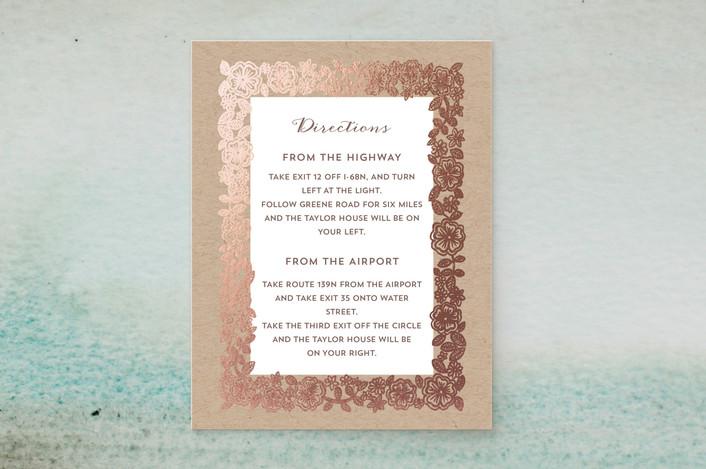 """Elisabeth Floral"" - Foil-pressed Direction Cards in Kraft by Katharine Watson."
