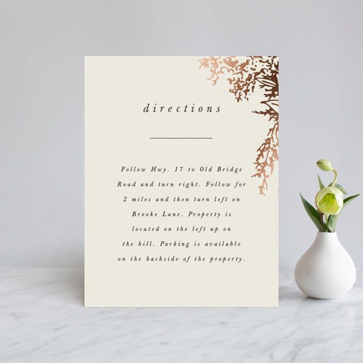 """""""Olivia"""" - Foil-pressed Direction Cards in Taupe by Hannah Williams."""