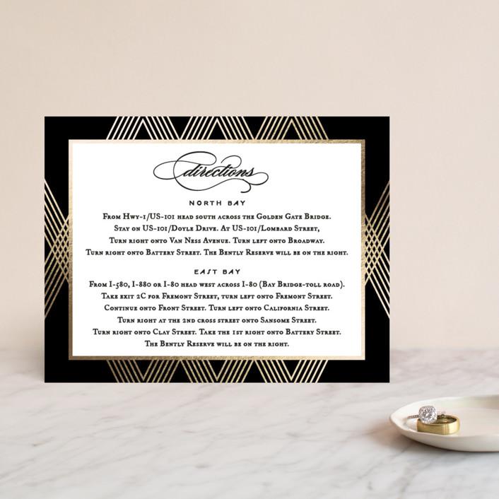 """Grandiose"" - Foil-pressed Direction Cards in Onyx by Jennifer Postorino."