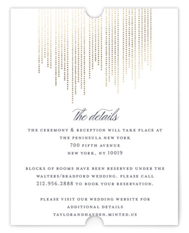 This is a portrait modern, white Direction Cards by Shirley Lin Schneider called Sparkle with Foil Pressed printing on Signature in Card Flat Card format. A minimalist yet elegant wedding invitation featuring hand drawn dotted lines perfect for a formal ...