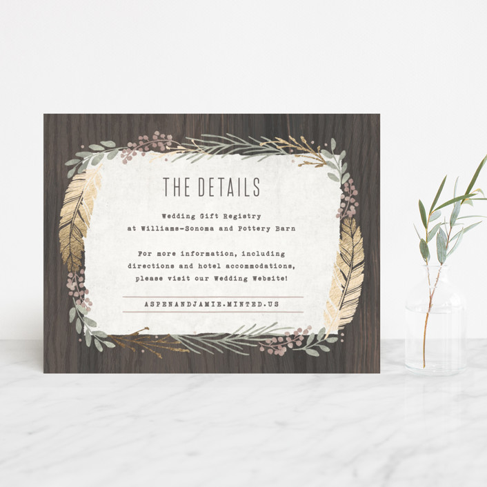 """Woodland Wreath"" - Rustic Foil-pressed Direction Cards in Oak by Hooray Creative."