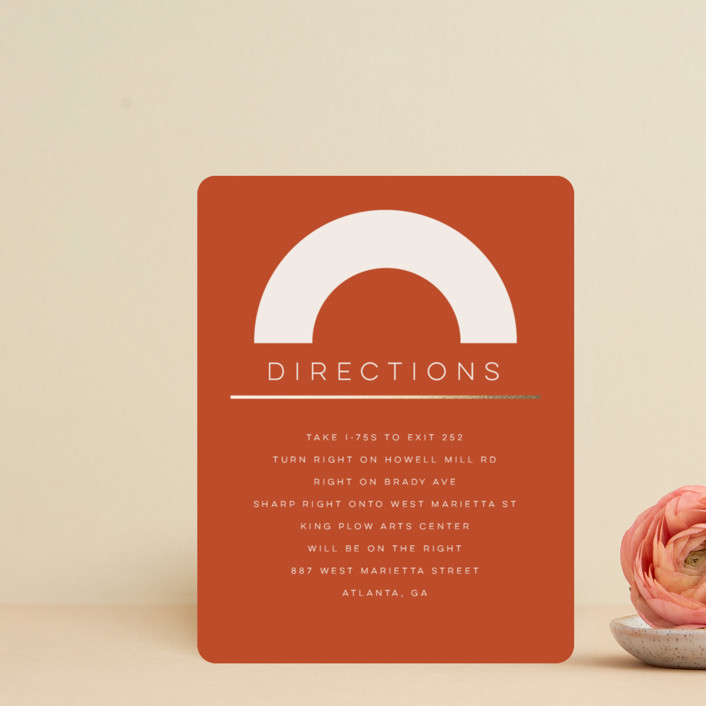 """""""Bauhaus Shapes"""" - Modern Foil-pressed Direction Cards in Terracotta by Morgan Kendall."""