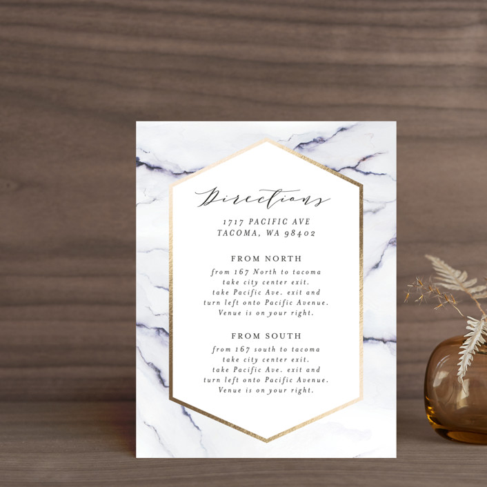 """""""Marbled"""" - Foil-pressed Direction Cards in Golden Meadow by Itsy Belle Studio."""