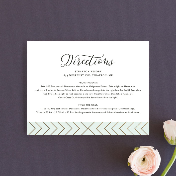 """""""Striped Love"""" - Modern Foil-pressed Direction Cards in Sky by chica design."""