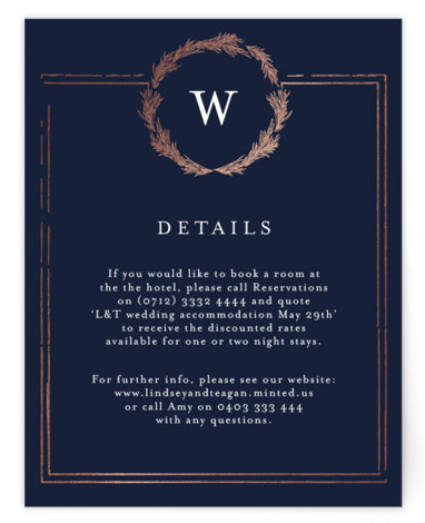This is a bold and typographic, classic and formal, monogram, blue, rosegold Direction Cards by Phrosne Ras called Little Wreath with Foil Pressed printing on Signature in Card Flat Card format. A simple foil design with a hand drawn wreath ...