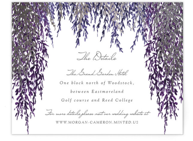 This is a purple, silver Direction Cards by Elly called In Love with Foil Pressed printing on Signature in Card Flat Card format. A bold and contemporary design with blue painted watercolour and gold foil for your wedding announcement