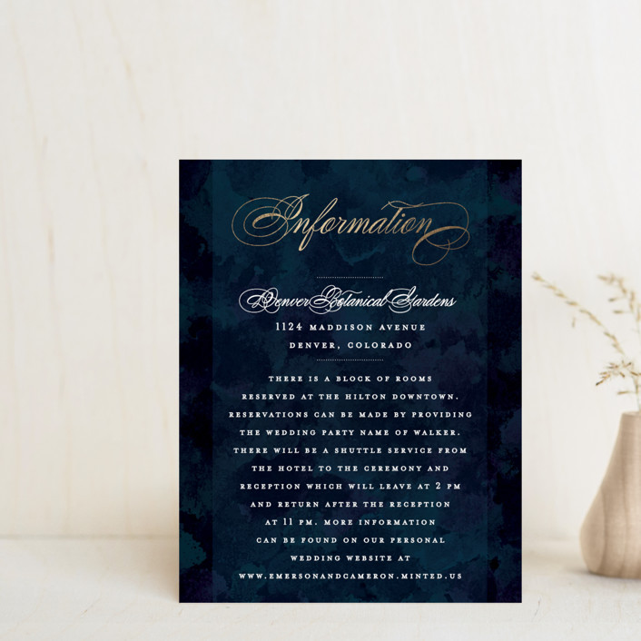 """""""Classic Affair"""" - Foil-pressed Direction Cards in Navy by Grace Kreinbrink."""