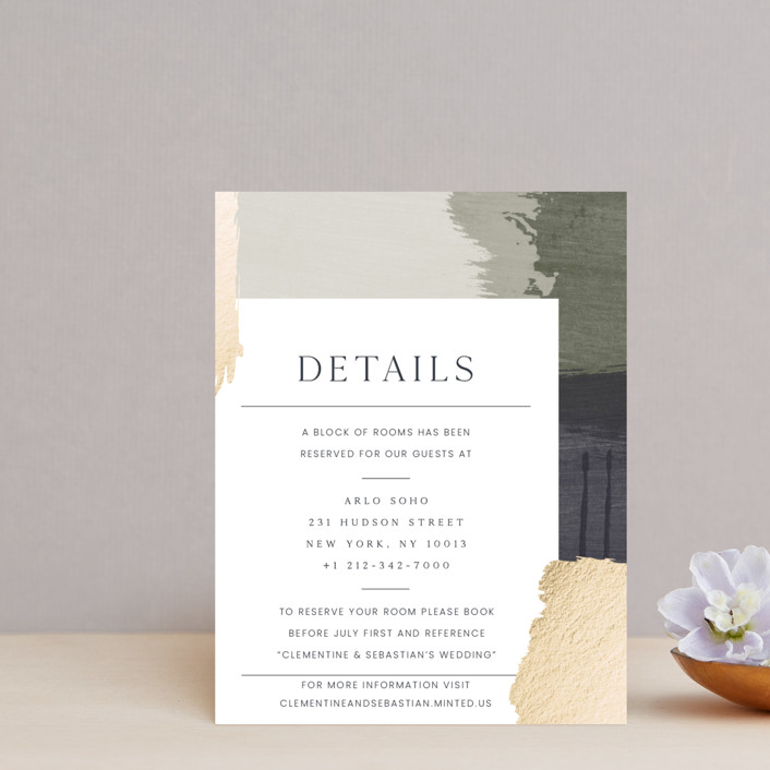 """""""Textural"""" - Modern Foil-pressed Direction Cards in Forest Walks by Blustery August."""