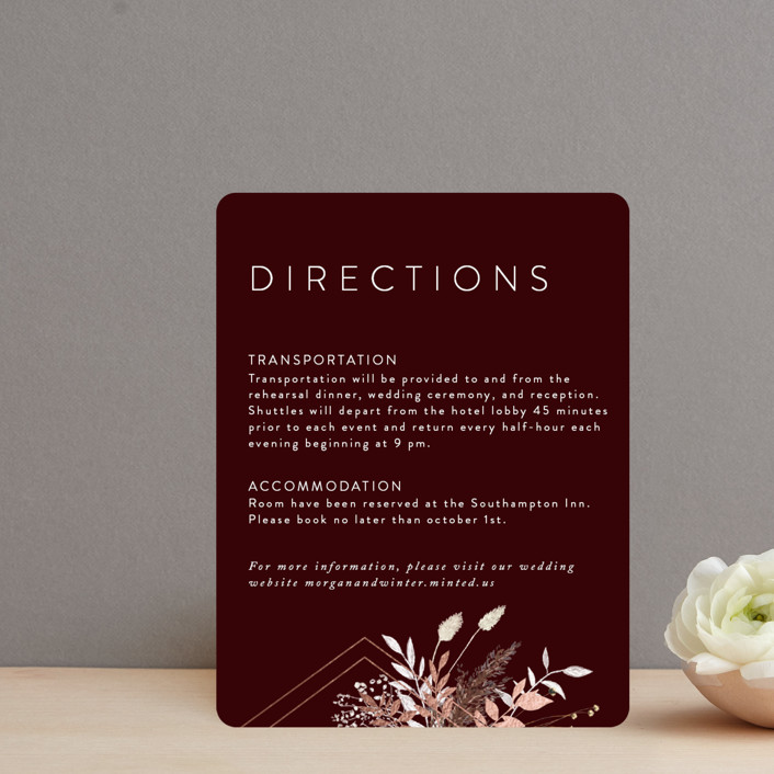 """""""dried foliage"""" - Rustic Foil-pressed Direction Cards in Burgundy by Cass Loh."""