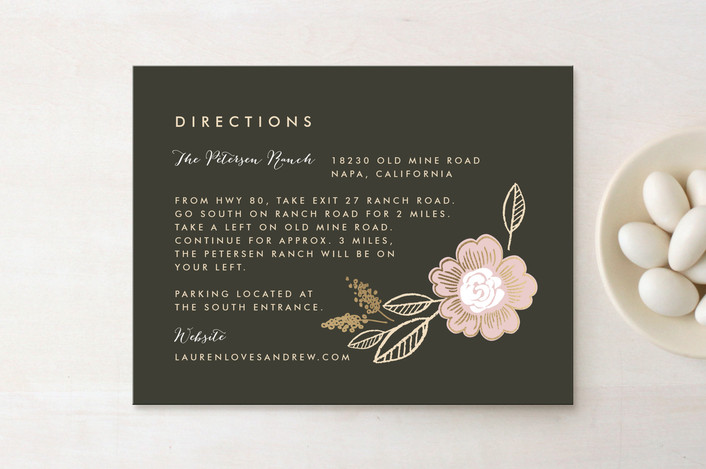 """""""Botanical Wreath"""" - Rustic Foil-pressed Direction Cards in Charcoal by Alethea and Ruth."""