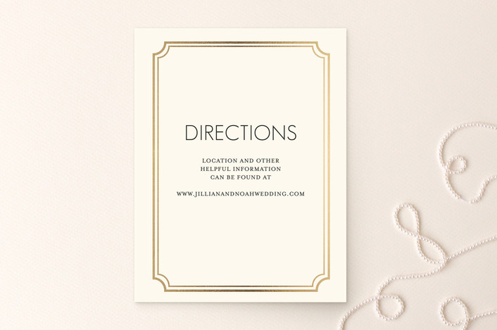 """""""Modern Classic"""" - Modern Foil-pressed Direction Cards in Gold by annie clark."""